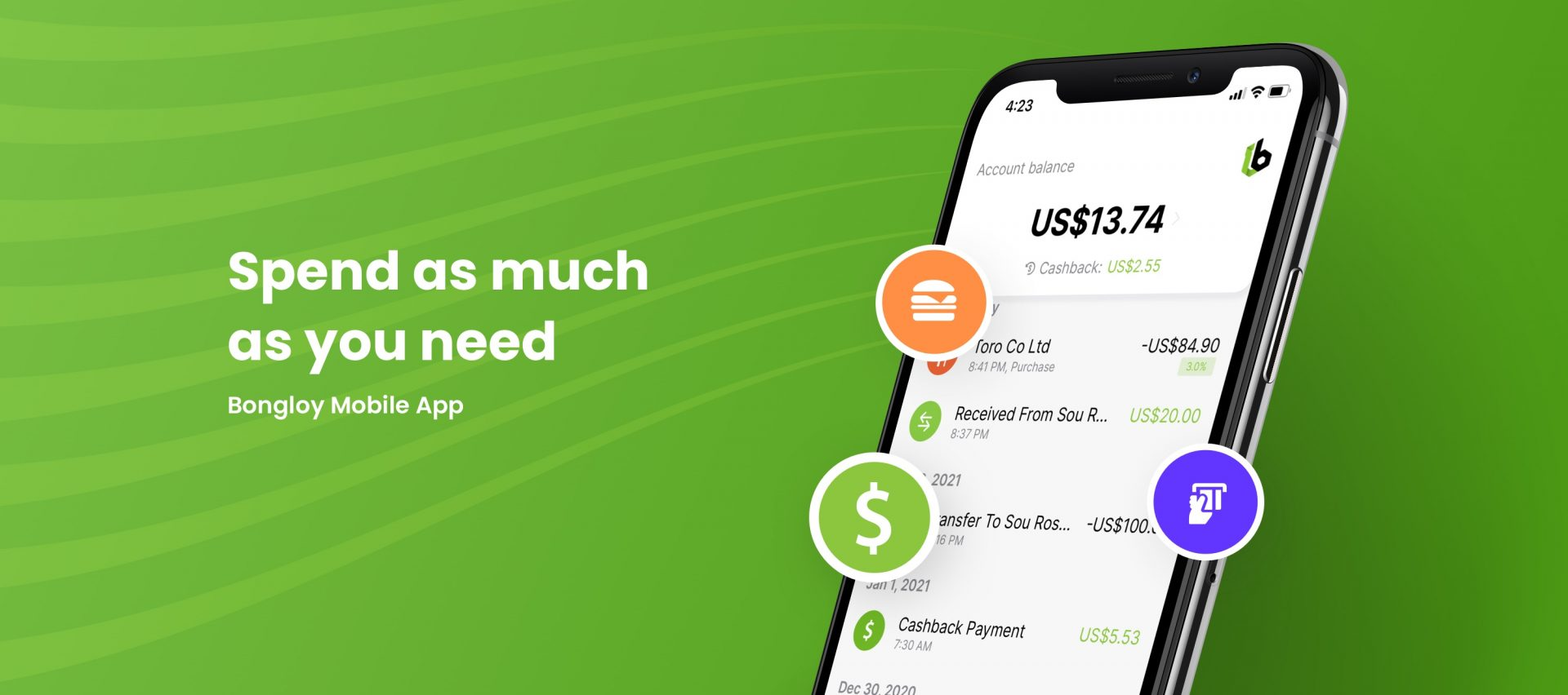 Bongloy's first digital wallet in Cambodia